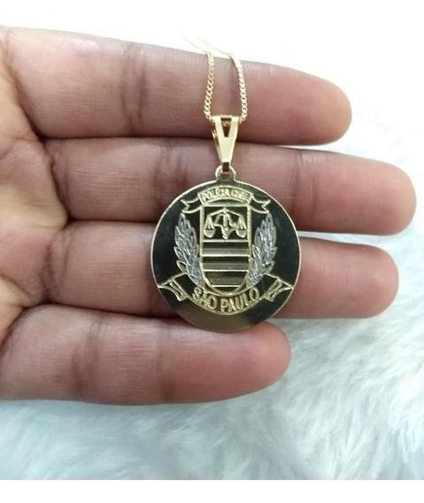 Corrente Pingente Policia Civil Estado De São Paulo Folheda A Ouro Garantia 60 Cm
