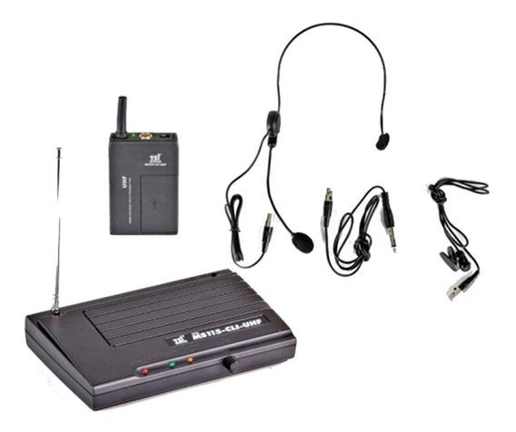 Microfone Sem Fio Tsi Ms-115 Cli Uhf Headset + Lapela