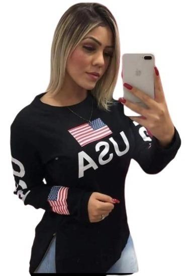 Blusa Quentinha Moletom Estados Unidos Usa Roupa Feminina