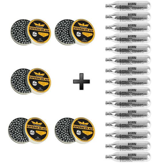 1500 Esferas De Aço Falconarmas 4,5mm 0,35g + 15 Ampolas Co2