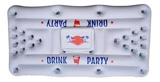 Juego Inflable Para Alberca Beer Pong Con Hielera Diversion