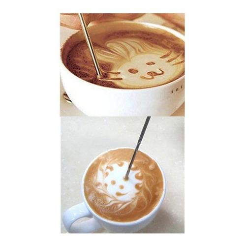 aguja de dibujo elegante DIY Ballylelly Aguja de palo tallada de caf/é de acero inoxidable bol/ígrafo art/ístico de caf/é de ganchillo alfiler de flor de capuchino