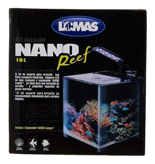 Kit Acuario Nano Reef 18 Lt Vidrio Luz Led Filtro Espumador