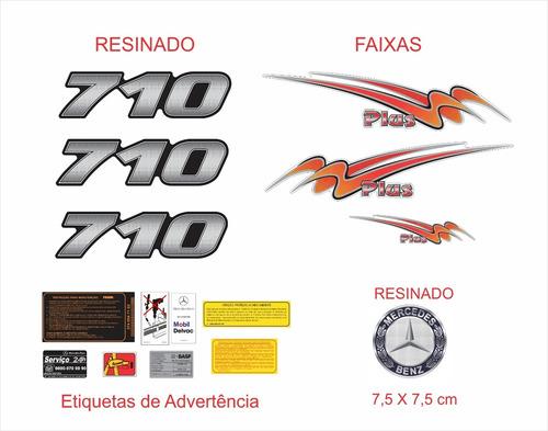 Kit Emblemas Adesivo Mercedes Benz 710 Plus Faixa Krt09