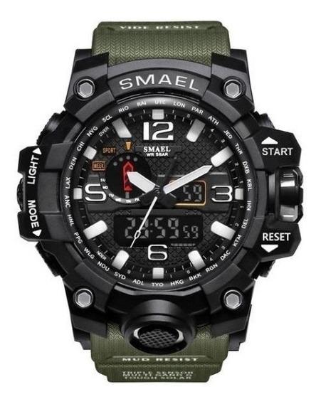 Relógio Masculino Digital Analógico Militar Smael Verde