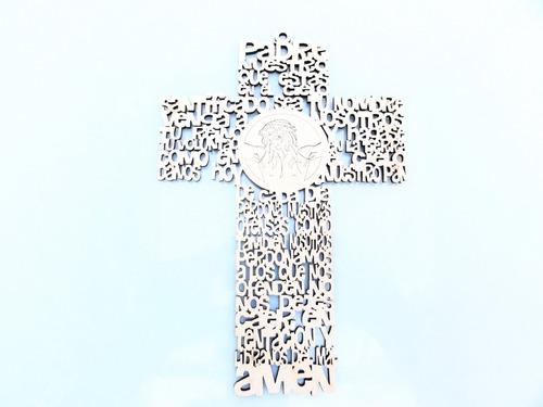 Imagen 1 de 5 de Cruz Padre Nuestro 20cm X 15u - Mdf / Fibrofacil