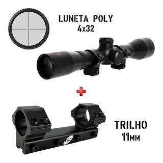 Carabina Pressão Rifle Luneta Rossi Poly 4x32 + Suporte Cbc