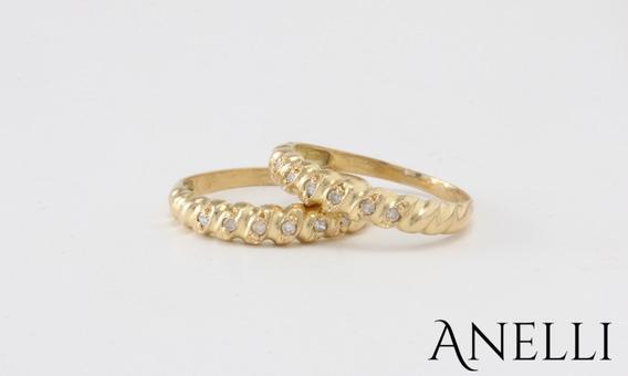 Anel Par De Aparador Em Ouro 18k E 12 Diamantes