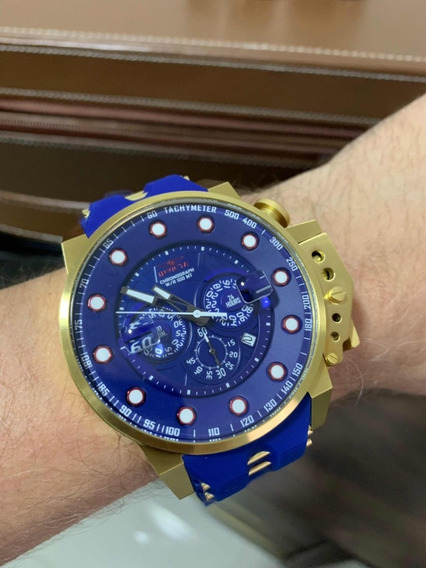Invicta I-force 25273 Plaque 18k Dourado Com Azul