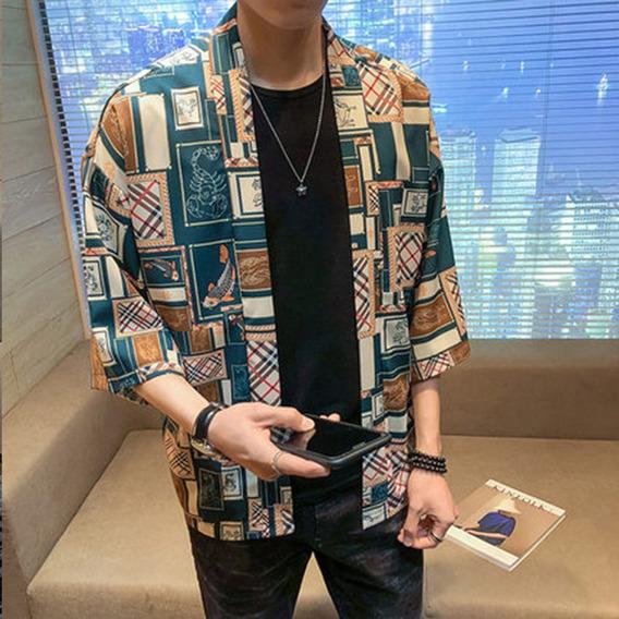 Chaqueta Abrigo Bata Kimono Japonés Verano Cuadros Sueltos
