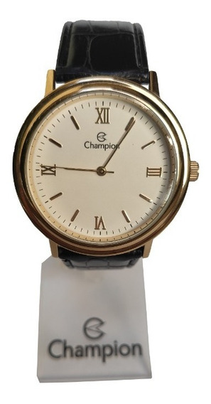 Relógio Champion Pulseira Couro Caixa Dourada Fundo Branco