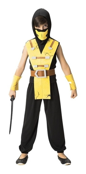Roupa De Ninja Infantil Amarelo Samurai Guerreiro P/entrega