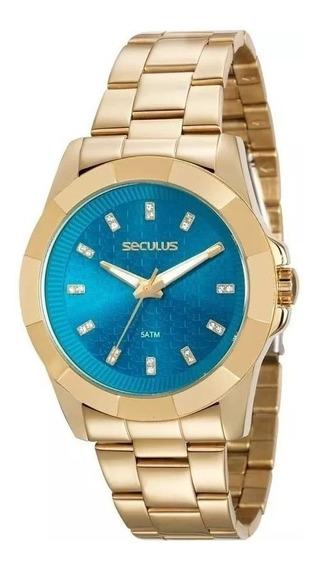 Relógio Pulso Seculus Feminino Glamour Original 20561lpsvds1