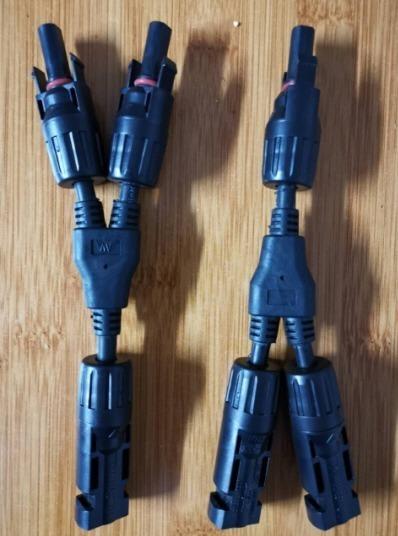 04 Par Y Adaptador Curto Solar 2:1 Mc4 Com Conector Mc4