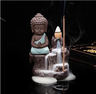 Quemador De Incienso Cascada Buda Indu + 20 Conos + 20 Varas