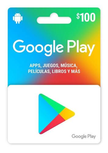Imagen 1 de 1 de Tarjeta Google Play 100 Pesos