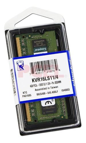 Memoria 4gb 1600 Kingston Ddr3 Laptop Kvr16ls11/4 Sodimm.