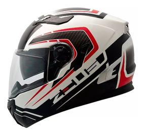 Capacete Moto Zeus 813 C/ Óculos Solar An15 Branco/vermelho