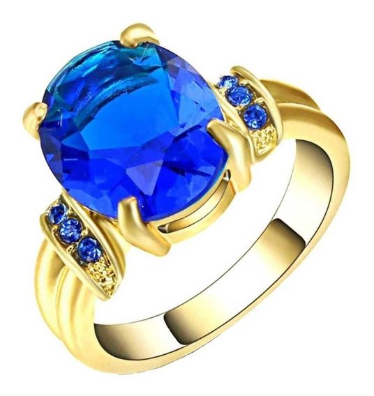 Anel Formatura Feminino Para Curso Pedra Azul Safira Dia 571