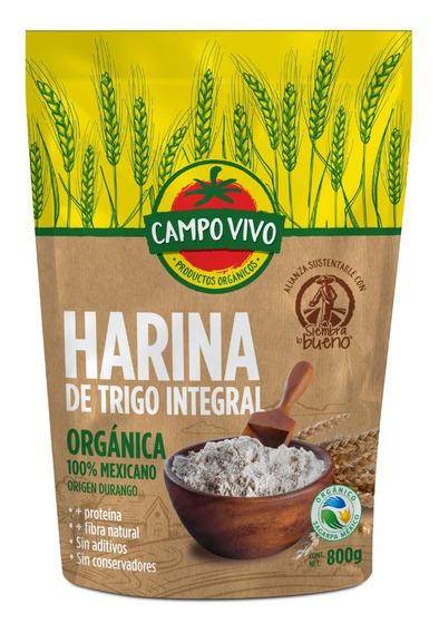 Harina De Trigo Integral Organica Campo Vivo 800 Gr