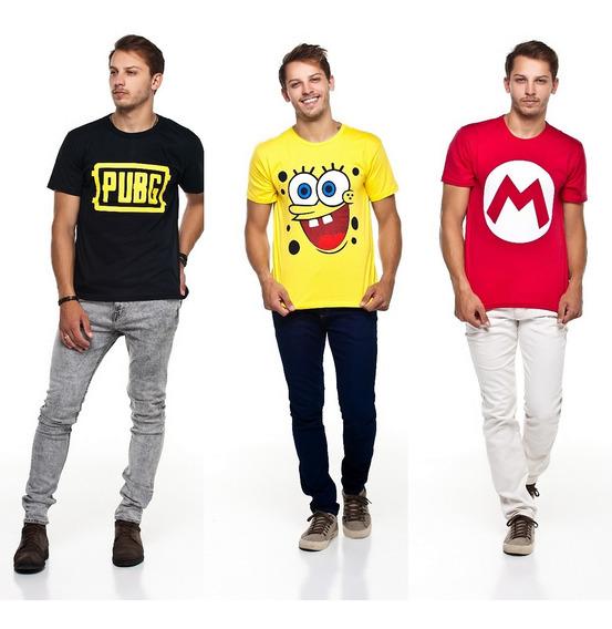 Kit 10 Camisetas Super Herois Personagens Games Atacado