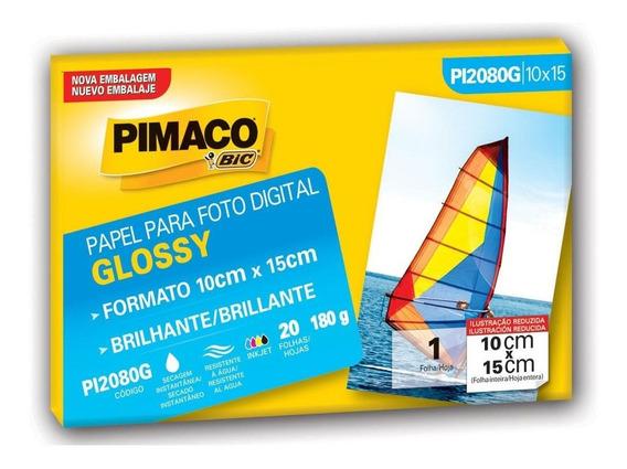 Papel Fotográfico Glossy 10x15cm Pt 20 Fl Pimaco