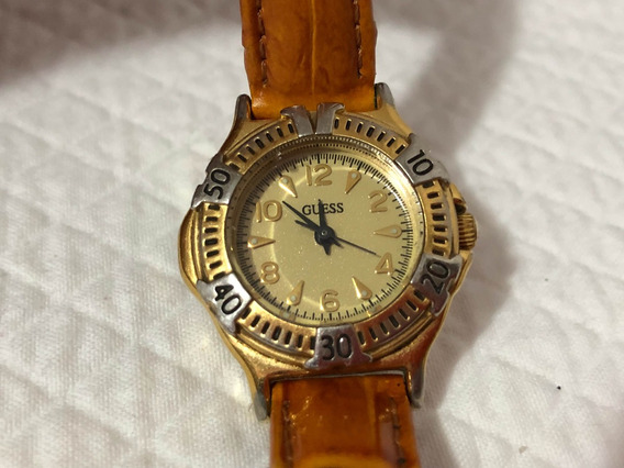 Reloj Dama Guess Original Metal Y Piel Chico