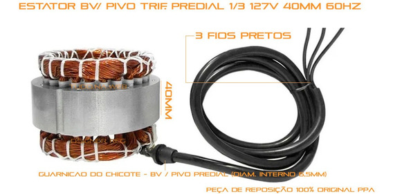 Bobina Motor Estator 1/3 Bv Pv Ppa Trif 110v 40m Triflex S/j