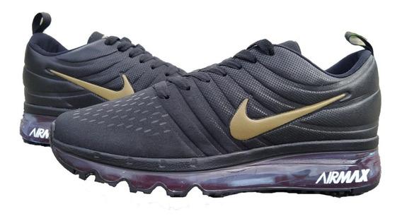 Zapato Deportivo Nike Airmax Caballero 2017 Negro Con Dorado