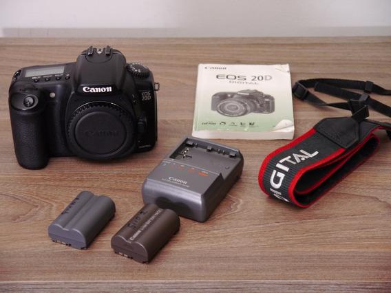 Câmera Canon 20d Digital Corpo Baterias Carregador E Manual