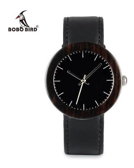 Relógio Feminino I30 Bobo Bird Bambu Caixa Aço Ebano Lindo!