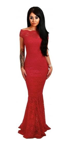 Vestido De Fiesta Rojo De Encaje A Los Hombros