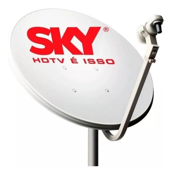 Antena Ku 60cm Com Lnb Universal Logo Sky