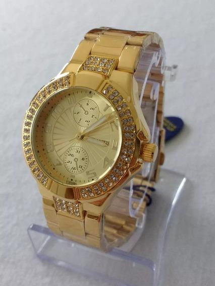 Relógio Feminino Dourado Atlantis B3150 Original