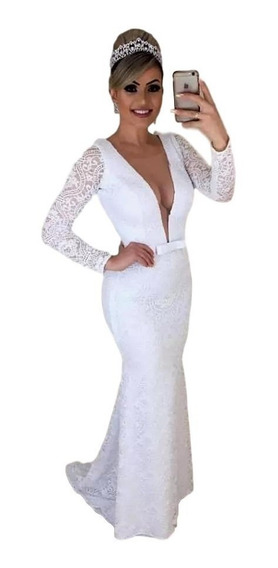 Vestido Longo Feminino Branco Noiva Casamento Civil Madrinha