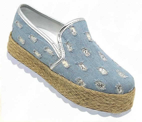 Tênis Feminino Slip-on Plataforma Jeans E Glitter