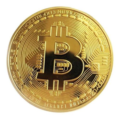 Imagen 1 de 4 de Moneda Física De Bitcoin Btc ( Banada En Oro)