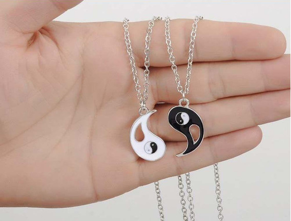 Lovers Collar Yin Yang Colgante Plata Color Negro Blanco