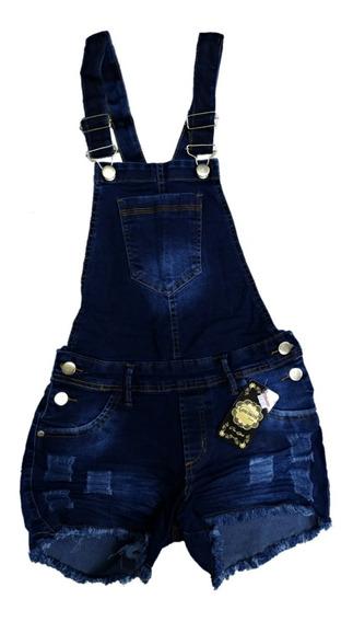 Jardineira Short Jeans Plus Size Com Lycra Roupa Feminina