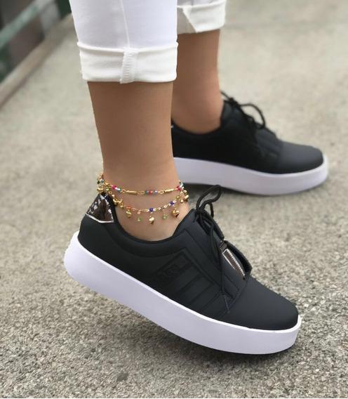 Zapato Tenis Deportivo Dama Color Negro Moda Casual..