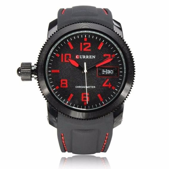 Relógio Masculino Curren Analógico 8173 Preto Vermelho