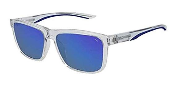 Óculos De Sol Puma Pu0193s 004 Translucido / Azul Espelhado