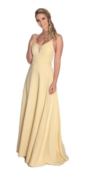 Vestido Festa Madrinha Formatura Amarelo Longo