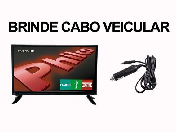 Tv 20 Philco Led Hd Caminhão Ônibus Trailer 12v Portátil