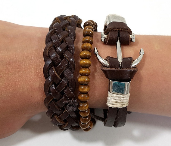 Pulseira Friendship Bracelets Em Couro Âncora
