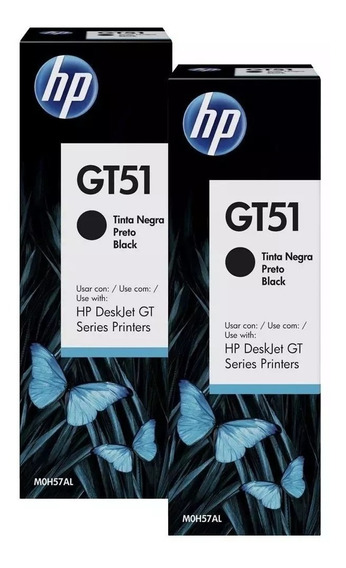 Kit 4 Garrafas De Tinta Refil Original Hp Gt51 Gt5822 Preta