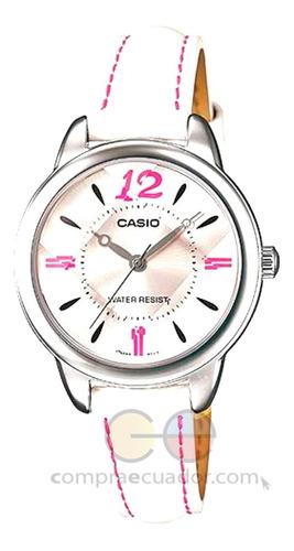 Casio Reloj Dama Resistente Al Agua Cuarzo Correa De Cuero