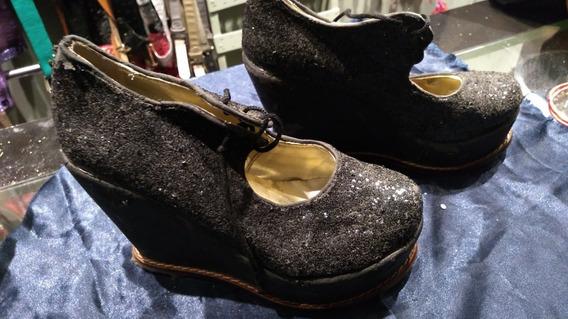 Zapatos Con Plataforma Y Brillos Nro 35