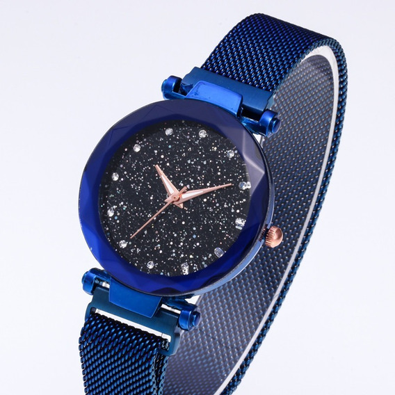 Promoção Relógio Feminino Pulseira Azul Magnética Strass