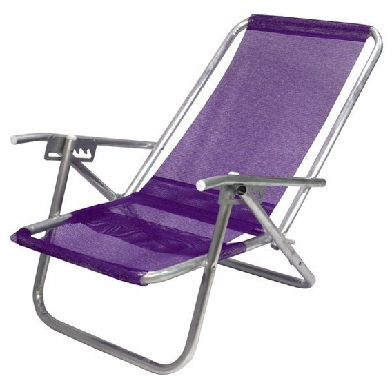 Cadeira Praia Reclinável Com Apoio 5 Posições 130kg Alumínio